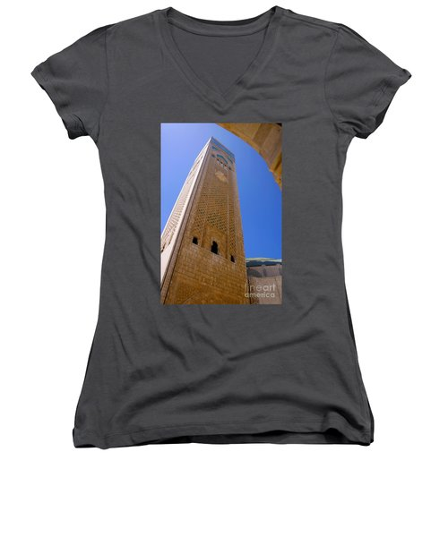 Women's V-Neck T-Shirt (Junior Cut) featuring the photograph Worlds Tallest Minaret At 210m Hassan II Mosque Grand Mosque Sour Jdid Casablanca Morocco by Ralph A  Ledergerber-Photography