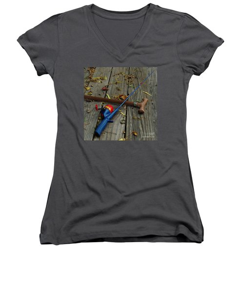 Wrapped In Time Women's V-Neck T-Shirt (Junior Cut) by Peter Piatt