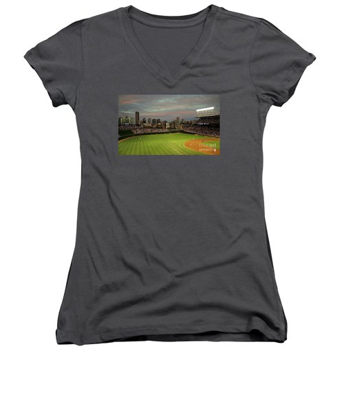 Wrigley Field At Dusk Women's V-Neck (Athletic Fit)
