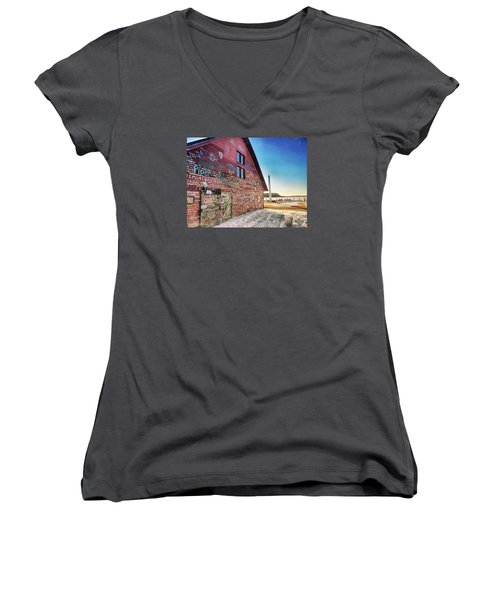 Writing On The Wall Women's V-Neck T-Shirt (Junior Cut) by Luke Collins