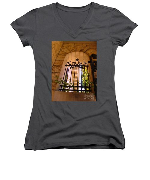 Women's V-Neck T-Shirt (Junior Cut) featuring the photograph Wrought Iron Arch Window 1 by Becky Lupe