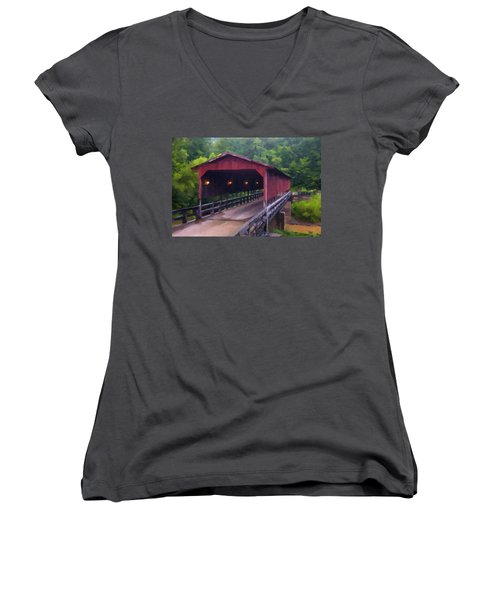 Wv Covered Bridge Women's V-Neck (Athletic Fit)