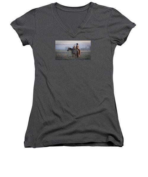 Wyoming Ranch Women's V-Neck T-Shirt (Junior Cut) by Diane Bohna