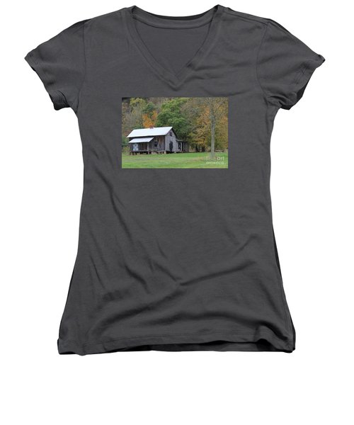 Ye Old Cabin In The Fall Women's V-Neck T-Shirt