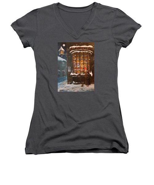 Ye Old Toy Shoppe Women's V-Neck T-Shirt (Junior Cut) by Jean Walker