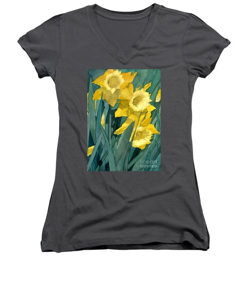 Yellow Daffodils Women's V-Neck T-Shirt (Junior Cut) by Greta Corens