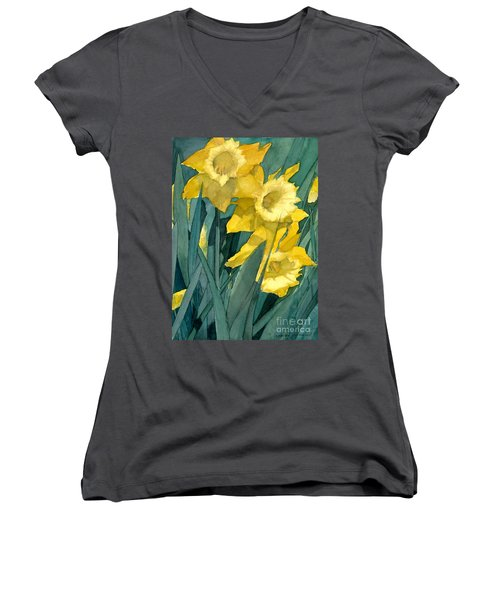 Watercolor Painting Of Blooming Yellow Daffodils Women's V-Neck T-Shirt