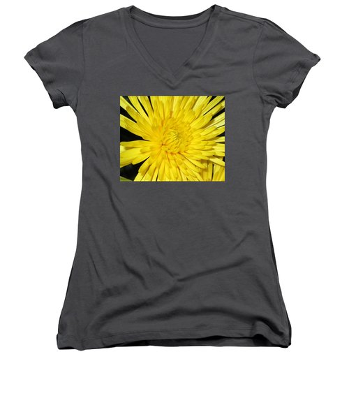 Women's V-Neck T-Shirt (Junior Cut) featuring the photograph Yellow Flower Closeup by Barbara Yearty