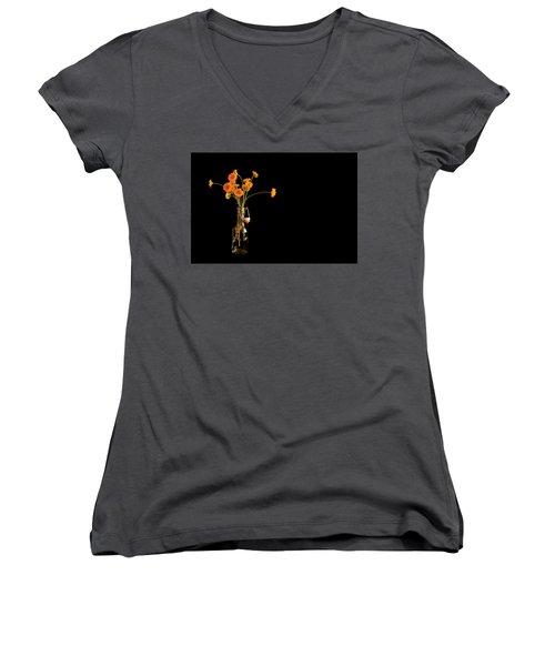 Orange Flowers On Black Background Women's V-Neck T-Shirt