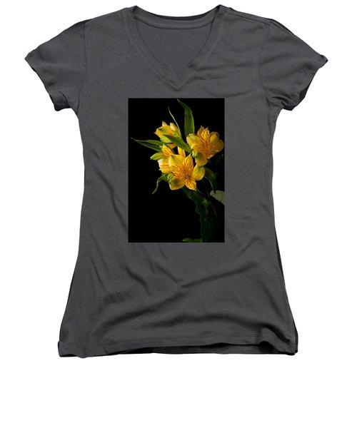 Women's V-Neck T-Shirt (Junior Cut) featuring the photograph Yellow Flowers by Sennie Pierson