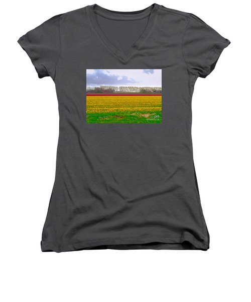 Women's V-Neck featuring the photograph Yellow Meadow by Luc Van de Steeg