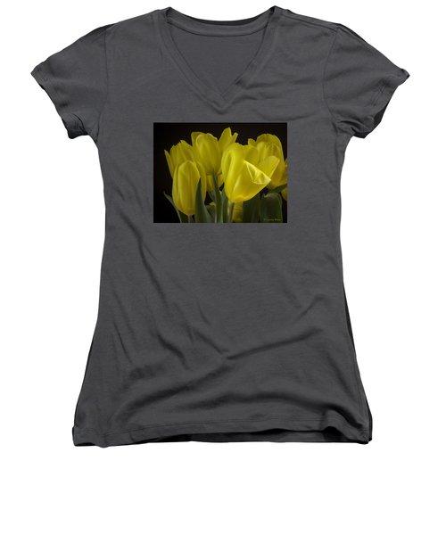 Women's V-Neck T-Shirt (Junior Cut) featuring the photograph Yellow Silk by Lucinda Walter