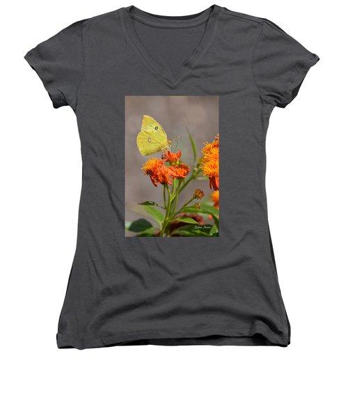 Women's V-Neck T-Shirt (Junior Cut) featuring the photograph Yellow Sulphur Butterfly by Debra Martz