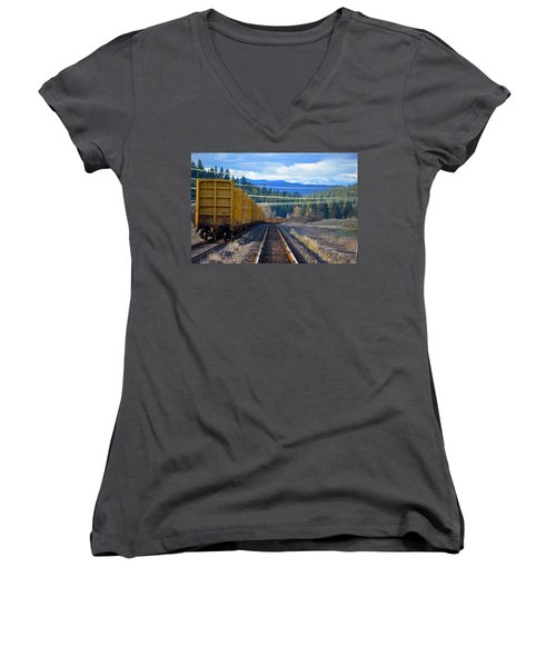 Yellow Train To The Mountains Women's V-Neck