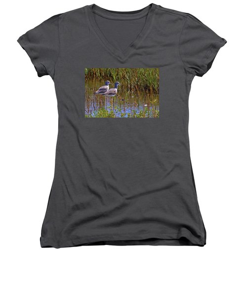 Women's V-Neck T-Shirt (Junior Cut) featuring the photograph Yellowlegs Of Texas by Gary Holmes