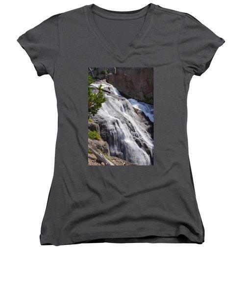 Yellowstone Gibbon Falls Women's V-Neck T-Shirt (Junior Cut) by Jennifer White