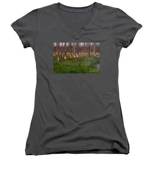 Yellowstone Mysterious Morning Women's V-Neck T-Shirt (Junior Cut) by Teresa Zieba