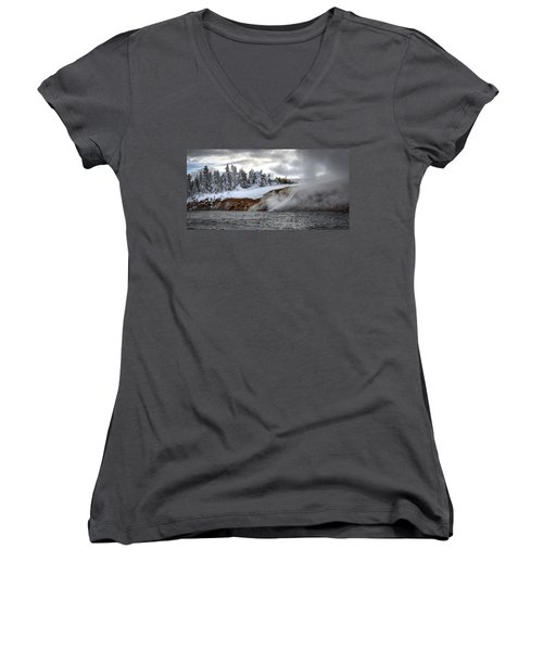 Yellowstone's Fire And Ice Women's V-Neck