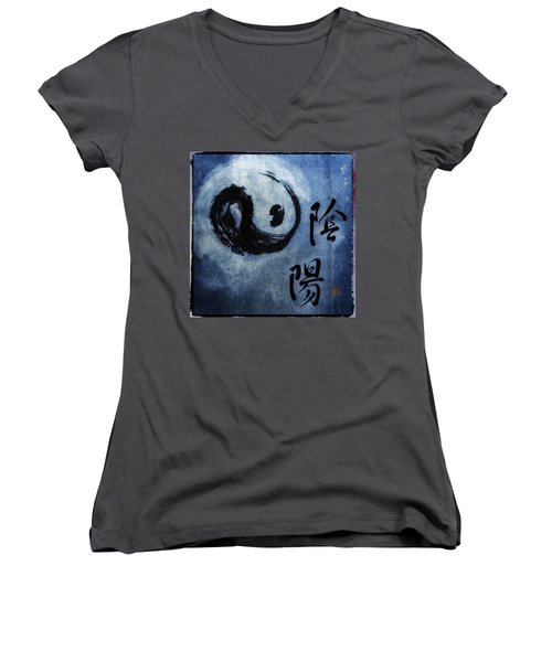 Women's V-Neck T-Shirt (Junior Cut) featuring the photograph Yin  Yang Brush Calligraphy by Peter v Quenter