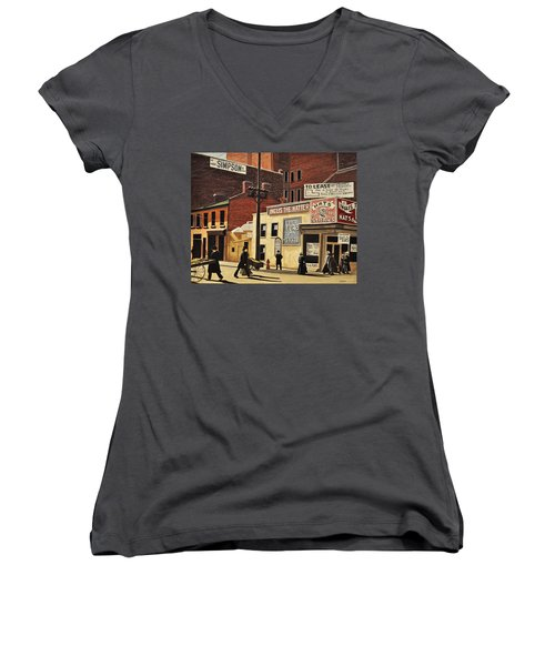 Women's V-Neck T-Shirt (Junior Cut) featuring the painting Yonge And Richmond Streets 1899 by Kenneth M  Kirsch