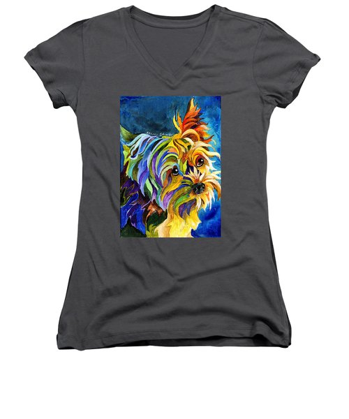Yorkie Women's V-Neck (Athletic Fit)