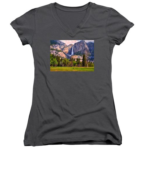 Yosemite Falls Women's V-Neck T-Shirt (Junior Cut) by Michael Pickett