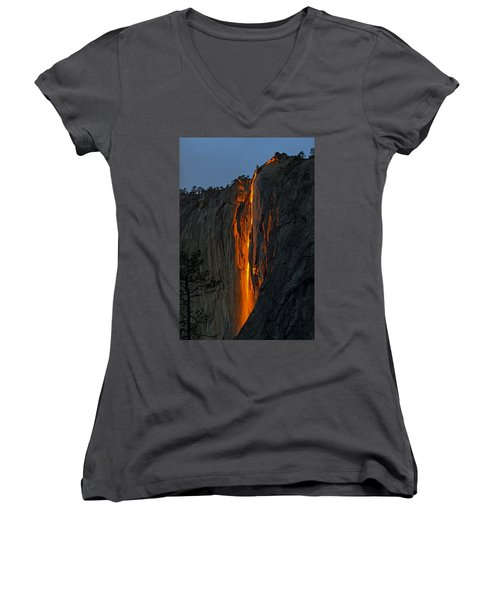 Yosemite Horsetail Falls Women's V-Neck T-Shirt