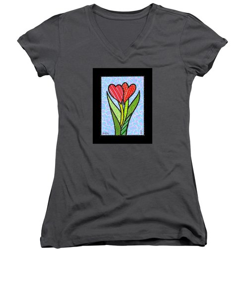 You And Me Women's V-Neck T-Shirt (Junior Cut) by Jim Harris