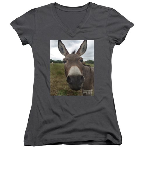 You Looking At My Woman Women's V-Neck T-Shirt (Junior Cut) by Peter Piatt