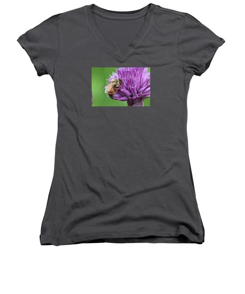 Yummm Chive Nectar Women's V-Neck T-Shirt (Junior Cut) by Lucinda VanVleck