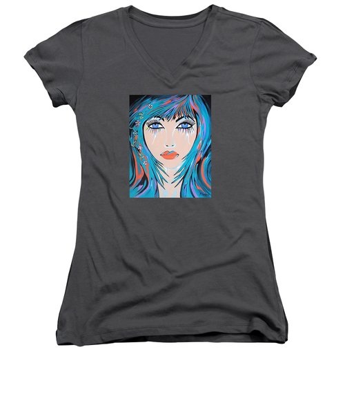 Women's V-Neck T-Shirt (Junior Cut) featuring the painting Zahara by Kathleen Sartoris