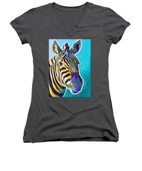 Zebra - Sunrise Women's V-Neck T-Shirt
