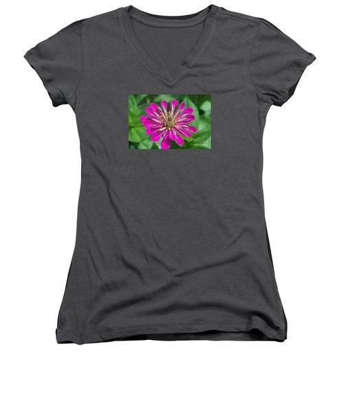 Women's V-Neck T-Shirt (Junior Cut) featuring the photograph Zinnia Opening by Eunice Miller