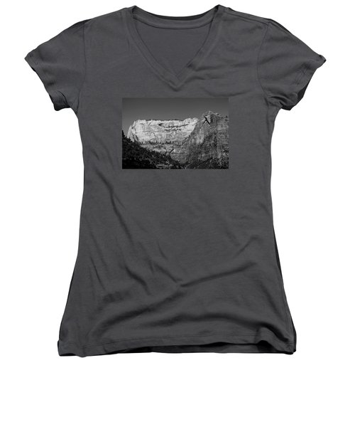 Zion Cliff And Arch B W Women's V-Neck