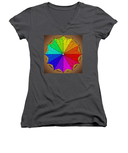 Zodiac Color Star Women's V-Neck T-Shirt (Junior Cut) by Derek Gedney