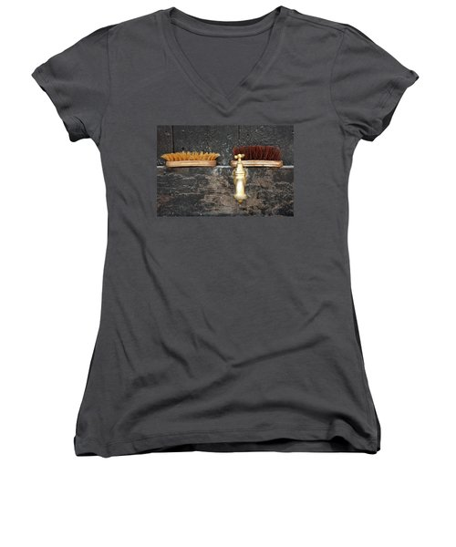 Women's V-Neck T-Shirt (Junior Cut) featuring the photograph Zuiderzee Brushes by KG Thienemann