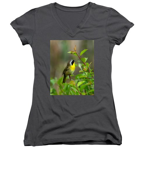 Common Yellowthroat Warbler Warbling Dsb006 Women's V-Neck T-Shirt (Junior Cut) by Gerry Gantt