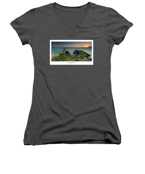 Women's V-Neck T-Shirt (Junior Cut) featuring the photograph  Sunset At South Stack Lighthouse by Beverly Cash
