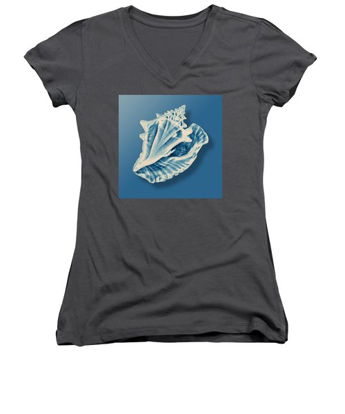 X-ray Of A Conch Shell Women's V-Neck T-Shirt (Junior Cut) by Mark Greenberg