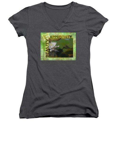 Appreciating Beauty Women's V-Neck T-Shirt (Junior Cut) by Smilin Eyes  Treasures