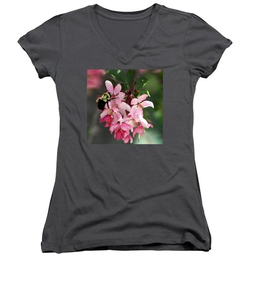 Women's V-Neck T-Shirt (Junior Cut) featuring the photograph Buzzing Beauty by Elizabeth Winter