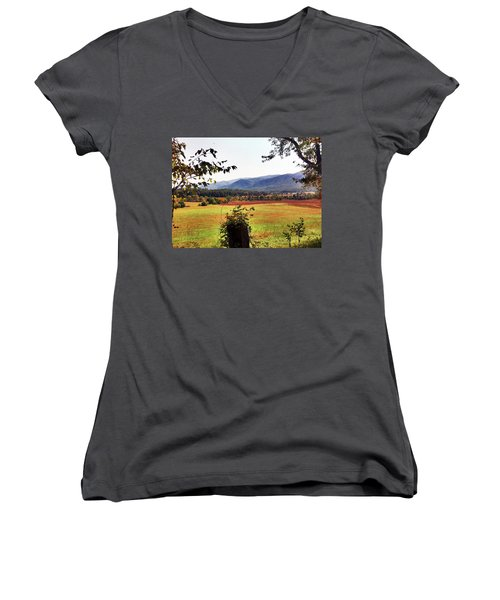 Women's V-Neck T-Shirt (Junior Cut) featuring the photograph Cades Cove by Janice Spivey