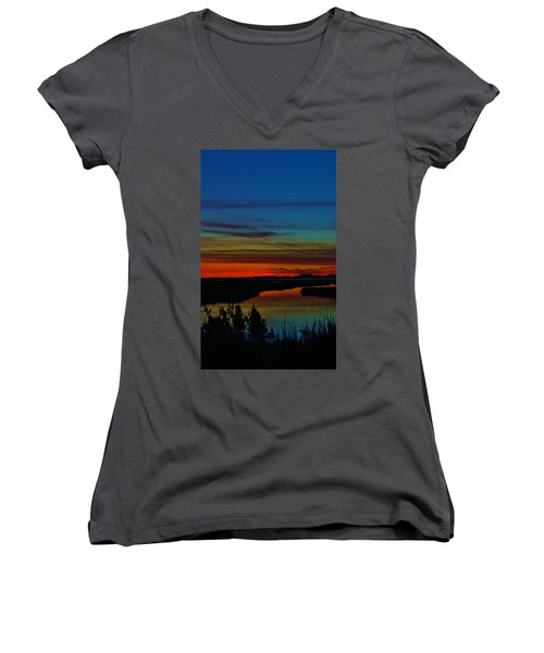 Deep Marshland Sunset Women's V-Neck (Athletic Fit)