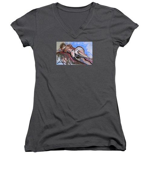 Female Nude  Women's V-Neck T-Shirt