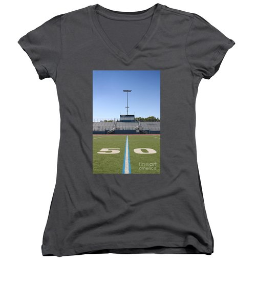 Women's V-Neck T-Shirt (Junior Cut) featuring the photograph Football Field Fifty by Henrik Lehnerer