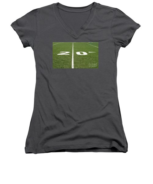 Women's V-Neck T-Shirt (Junior Cut) featuring the photograph Football Field Twenty by Henrik Lehnerer