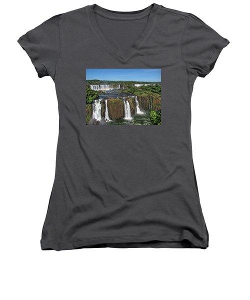 Iguazu Falls Women's V-Neck T-Shirt (Junior Cut) by David Gleeson