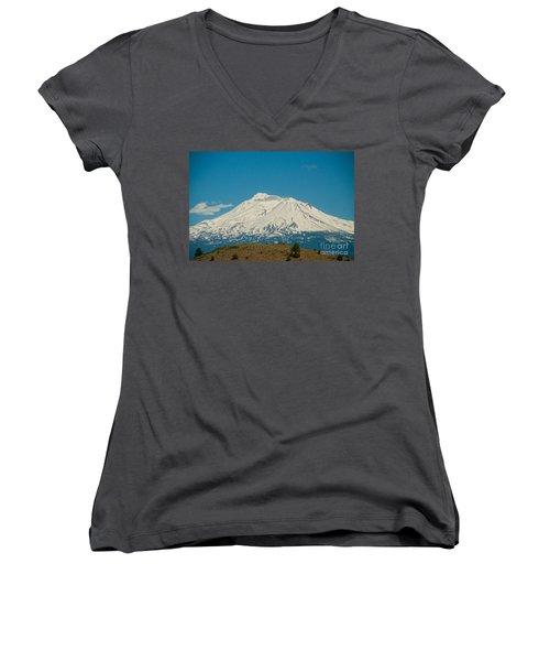 Mount Shasta Women's V-Neck T-Shirt (Junior Cut) by Carol Ailles
