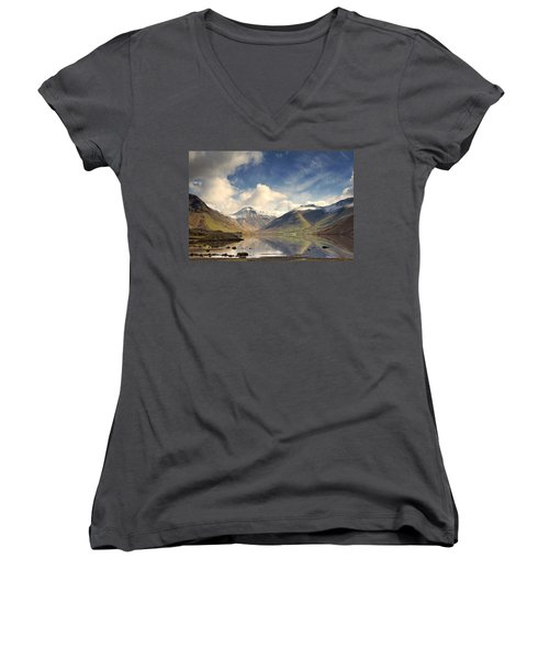 Women's V-Neck T-Shirt (Junior Cut) featuring the photograph Mountains And Lake At Lake District by John Short