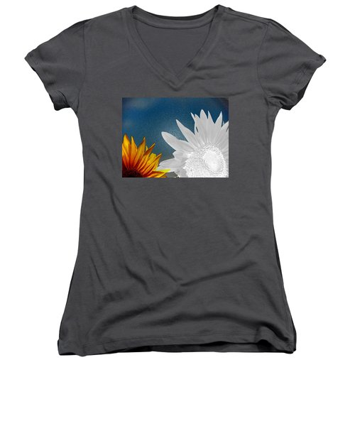 Now And Then  Women's V-Neck T-Shirt (Junior Cut) by Lenore Senior